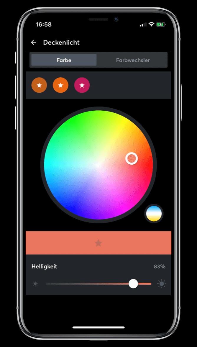 Zobrazení nastavení světel v aplikaci Loxone
