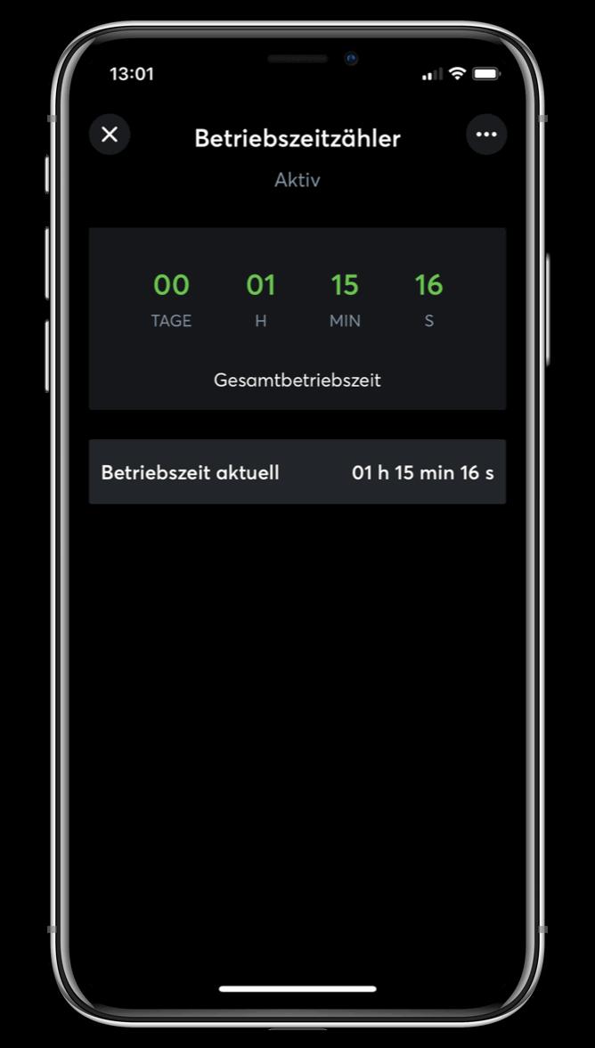 Čítač provozních hodin v Loxone aplikaci