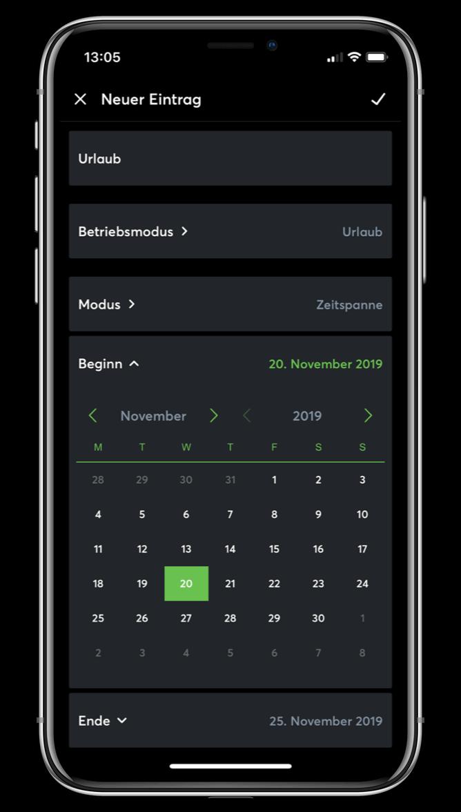 Kalendář pro uživatelské režimy v Loxone aplikaci
