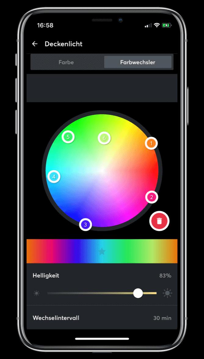 Změna barev světel v Loxone aplikaci