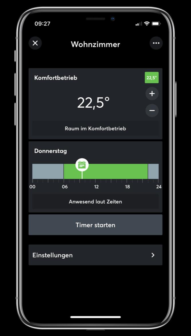 Nastavení teploty v Loxone aplikaci