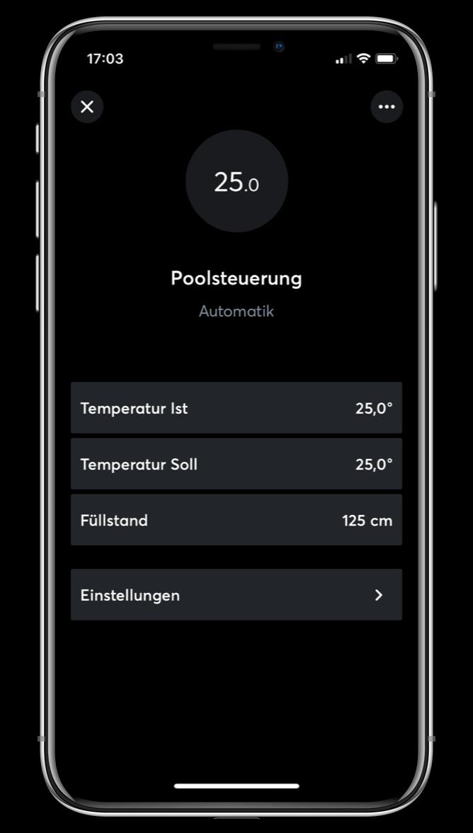 Ovládání bazénu v Loxone aplikaci