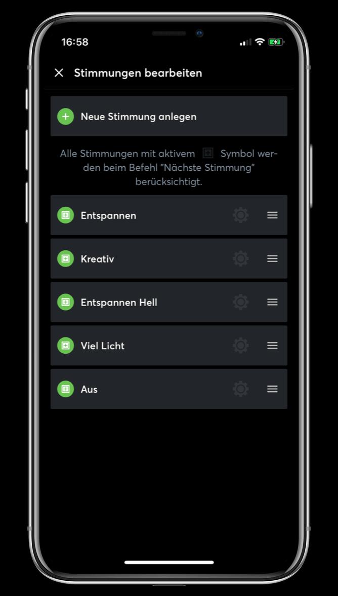 Nastavení světel v aplikaci Loxone