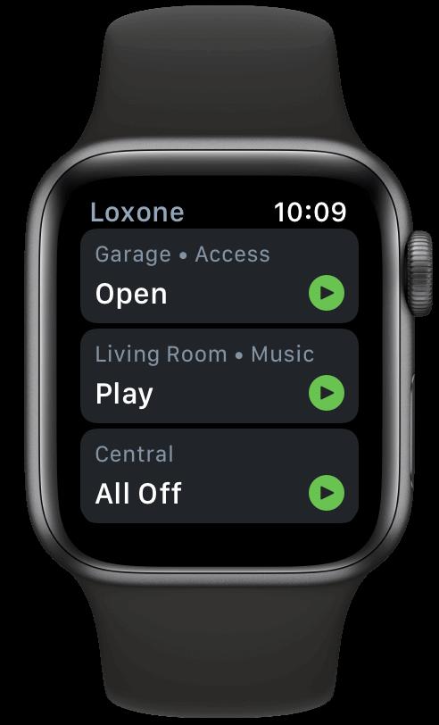 Podpora Apple Watch Loxone aplikace