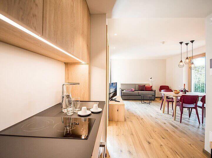 Kuchyně v apartmánu rezidence Alpenrose