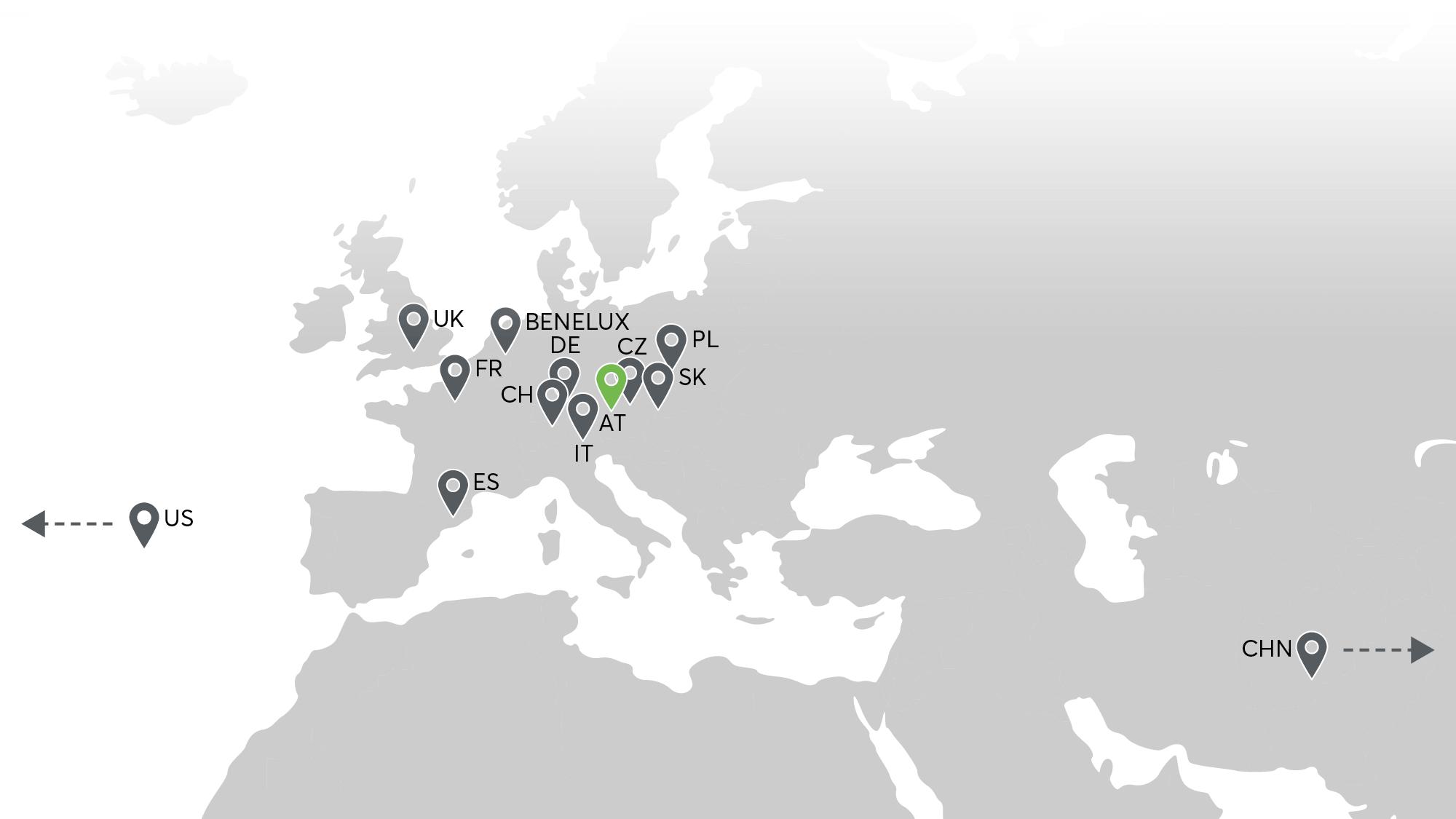 Pobočky Loxone po celém světě