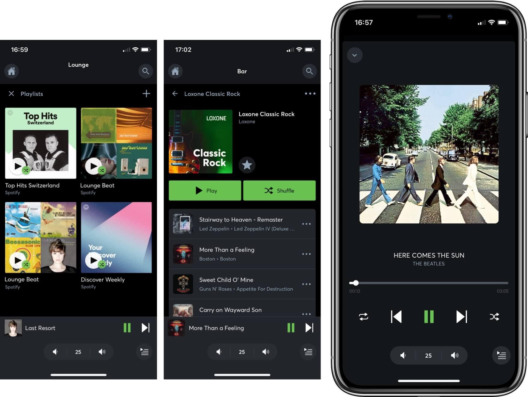 Ukázky ovládání audia v aplikaci Loxone