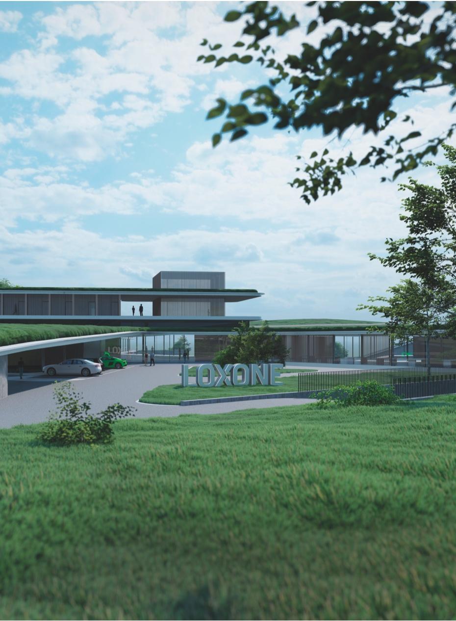 Pohľad na vstupnú budovu Loxone Campusu