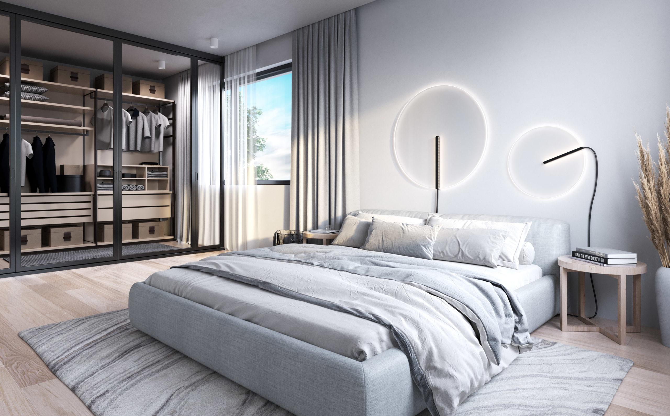 Luxusní moderní ložnice se šatnou