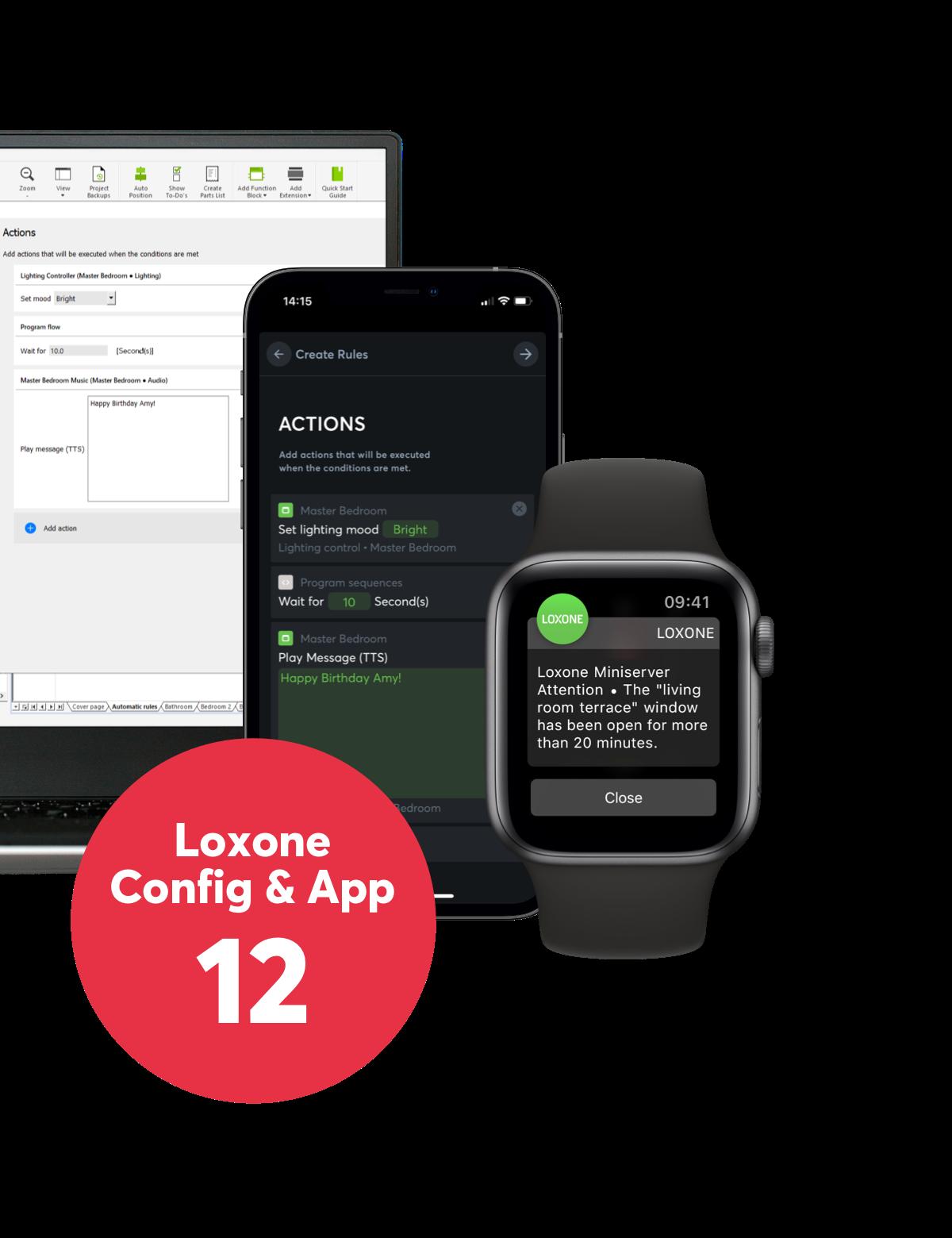 Loxone config, Aplikace a Apple Watch aplikace