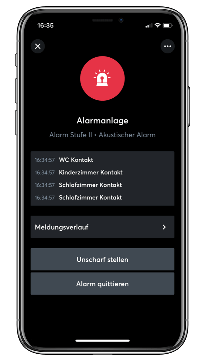 Nastavenie alarmu v Loxone App