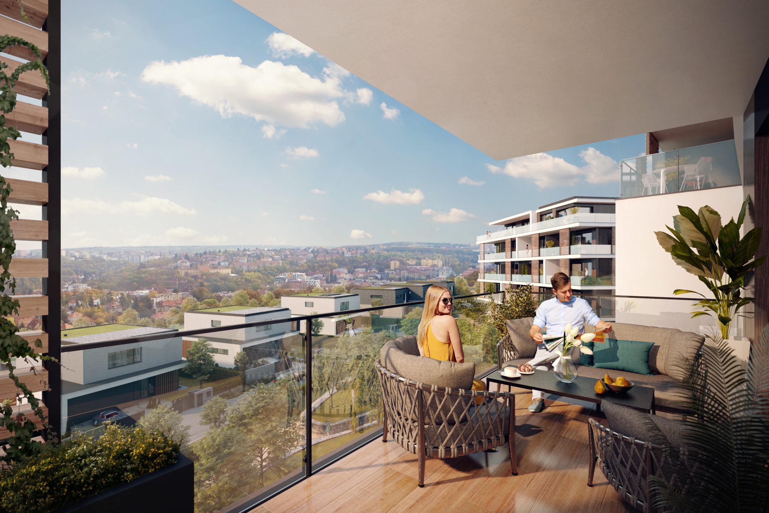Panoramatický výhled z balkonu jednoho z bytů