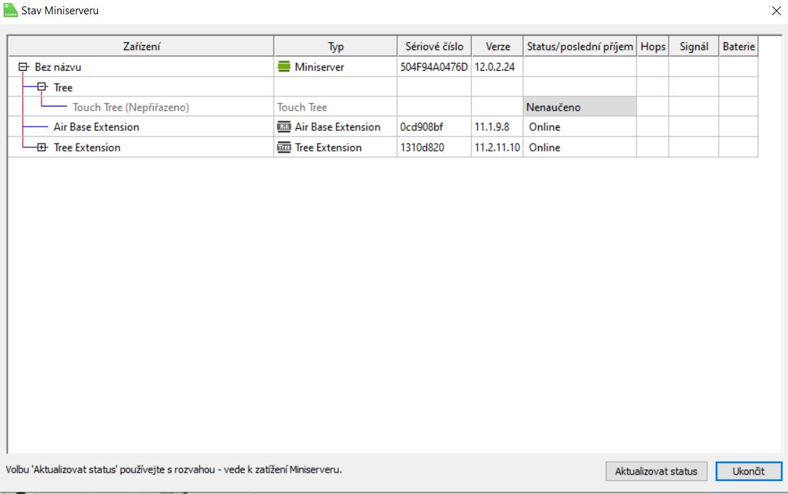 Okno statusu zařízení připojených k Miniserveru