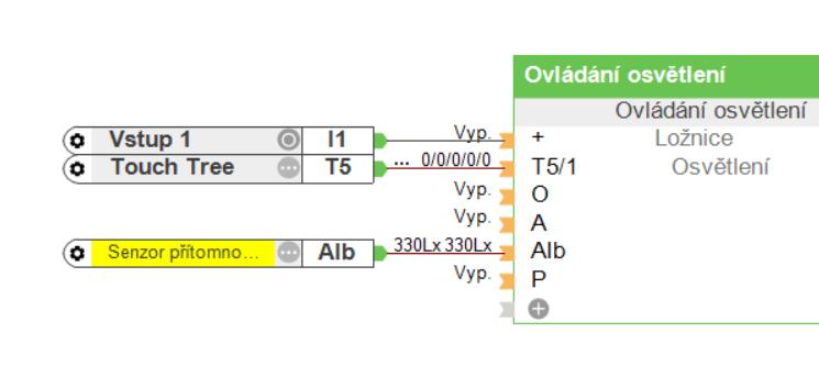 Funkční blok ovládání osvětlení zobrazený s manuální změnou hodnot