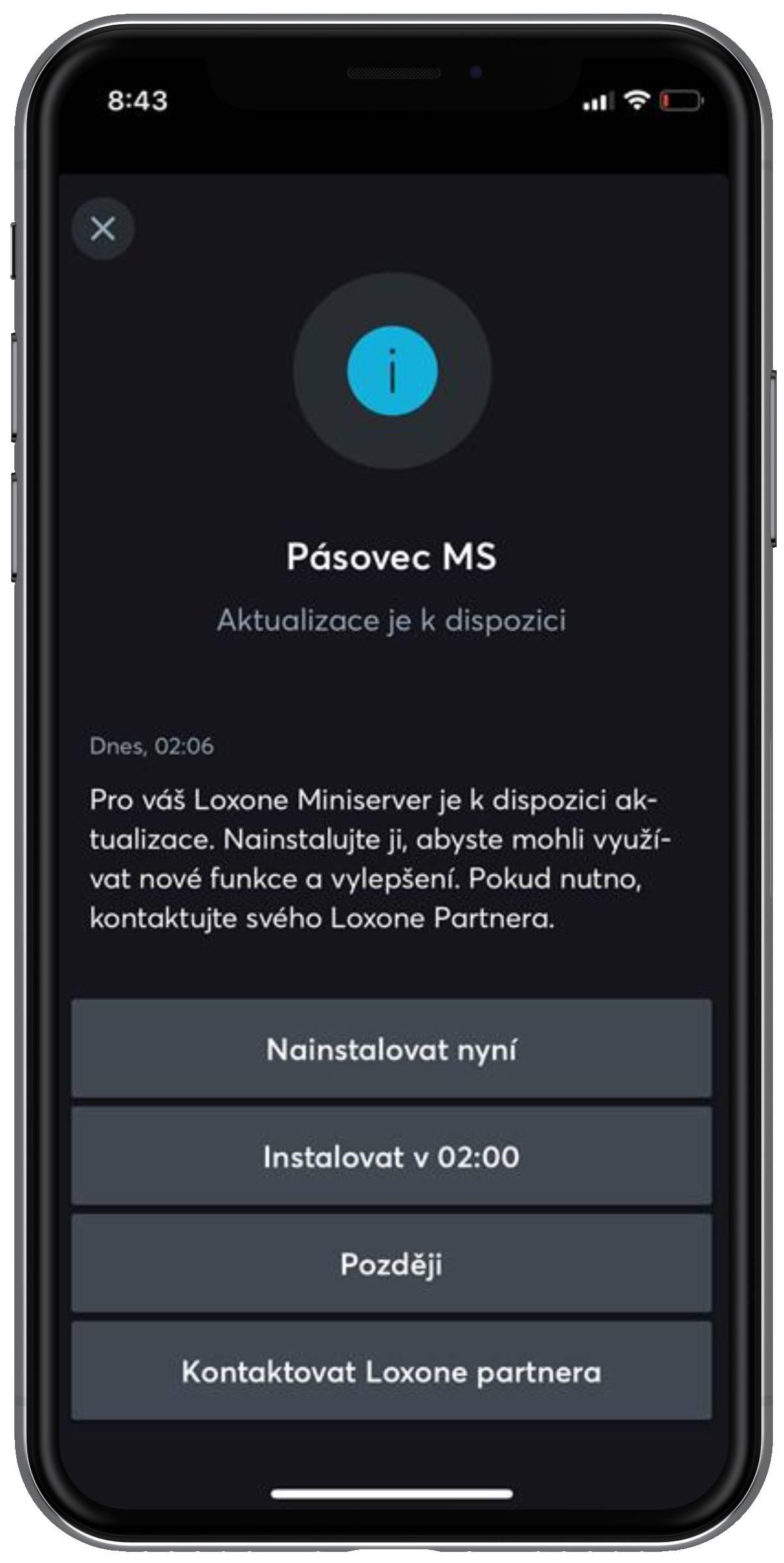 Okno aplikace Loxone - Aktualizace Miniserveru