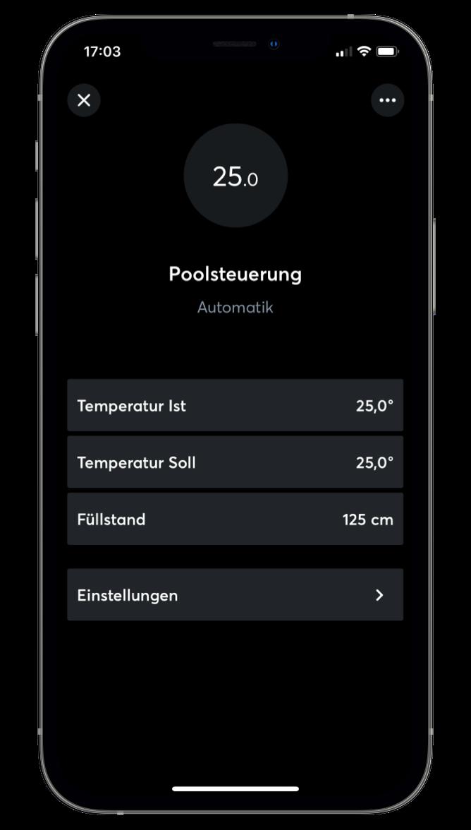 Aplikace Loxone, ovládání bazénu