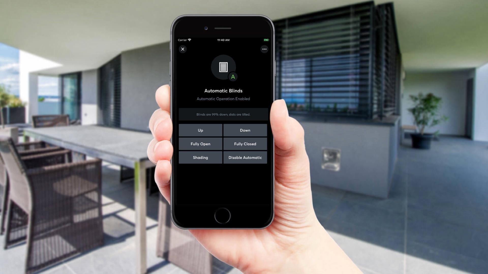 Aplikace Loxone, ovládání stínění