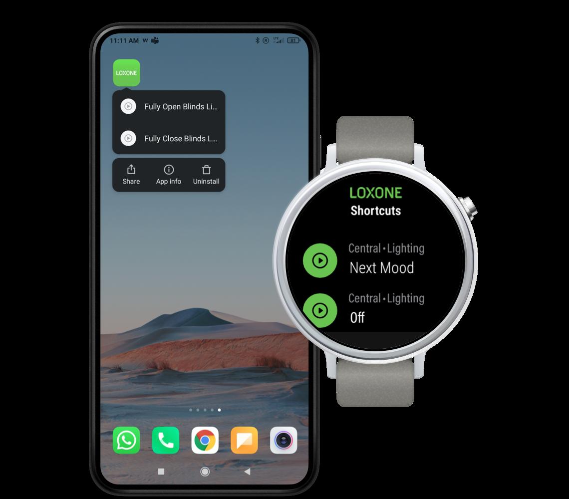 Android telefon s hodinkami se systémem Android Wear OS