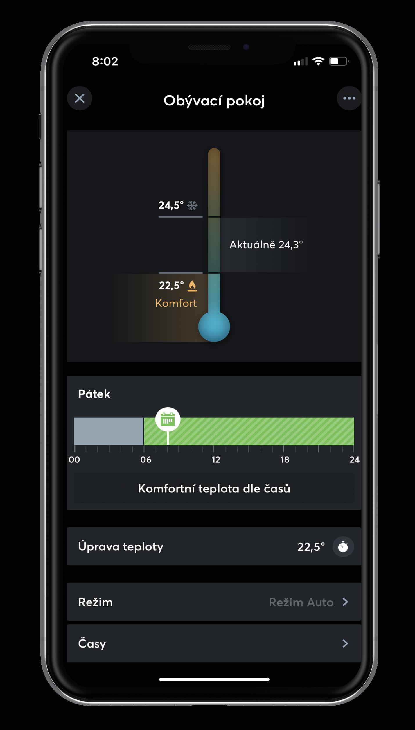 Inteligentní regulace pokojové teploty v App