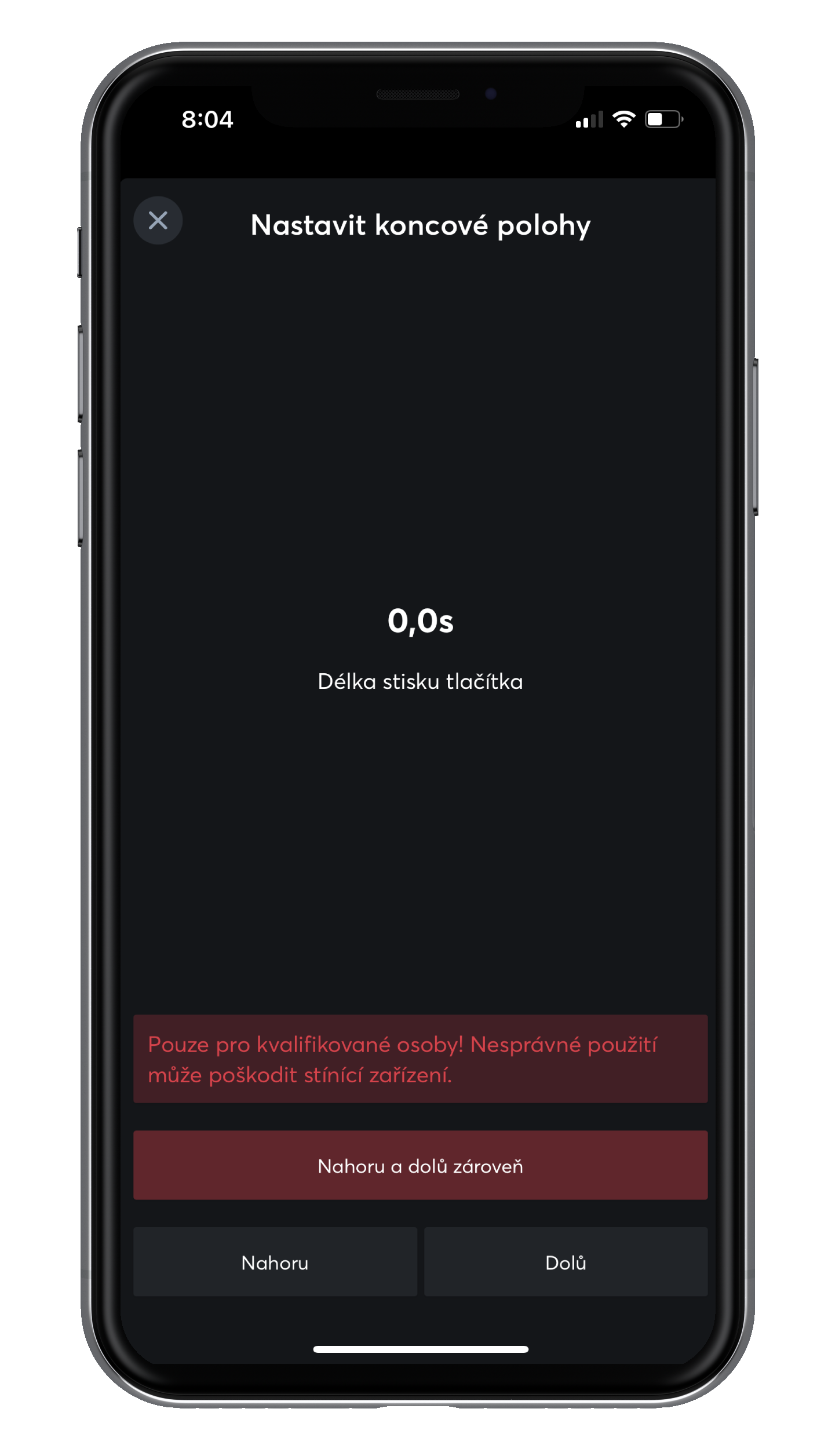 Nastavení koncových poloh v App