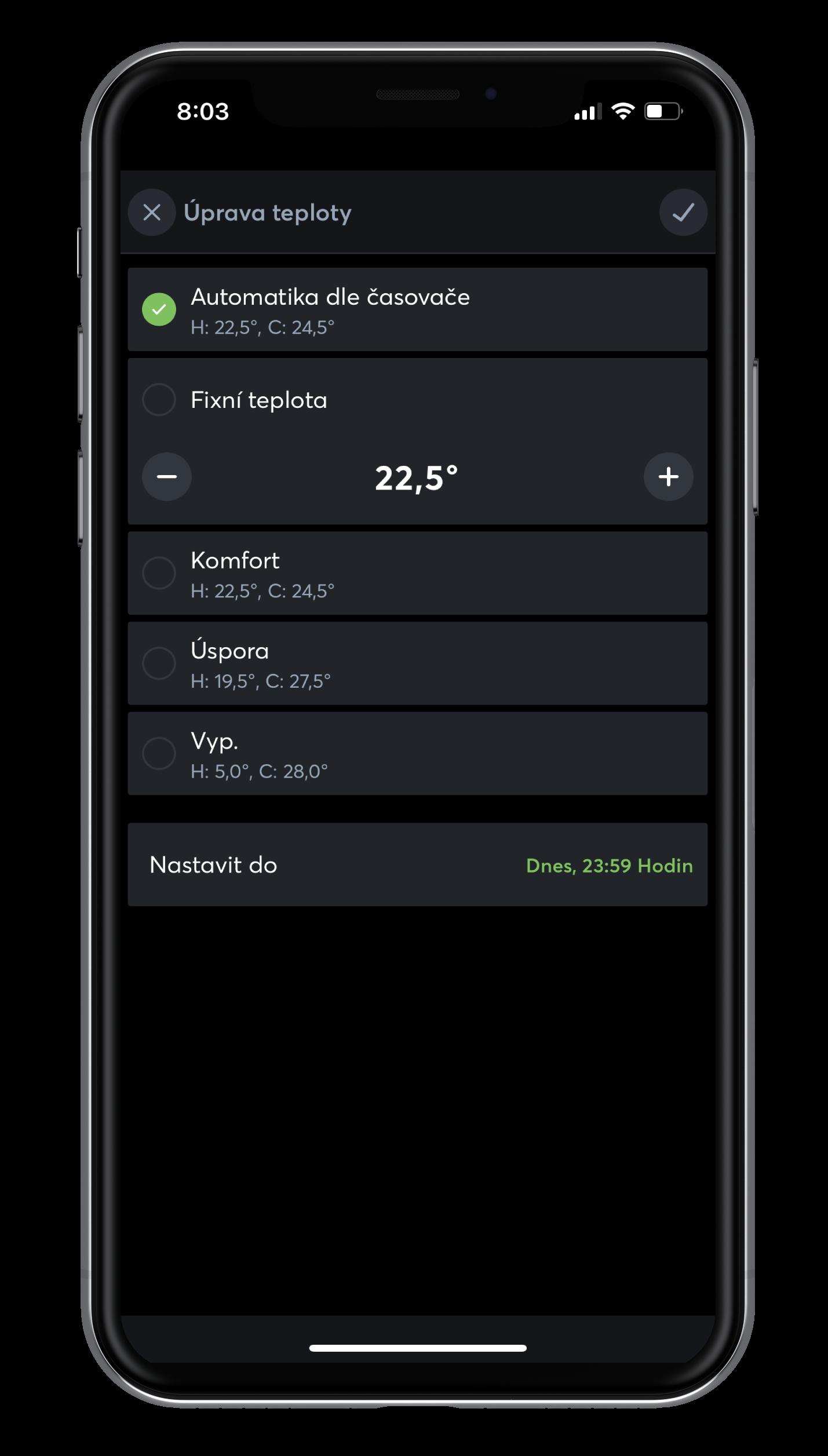 Dočasná úprava teploty v App