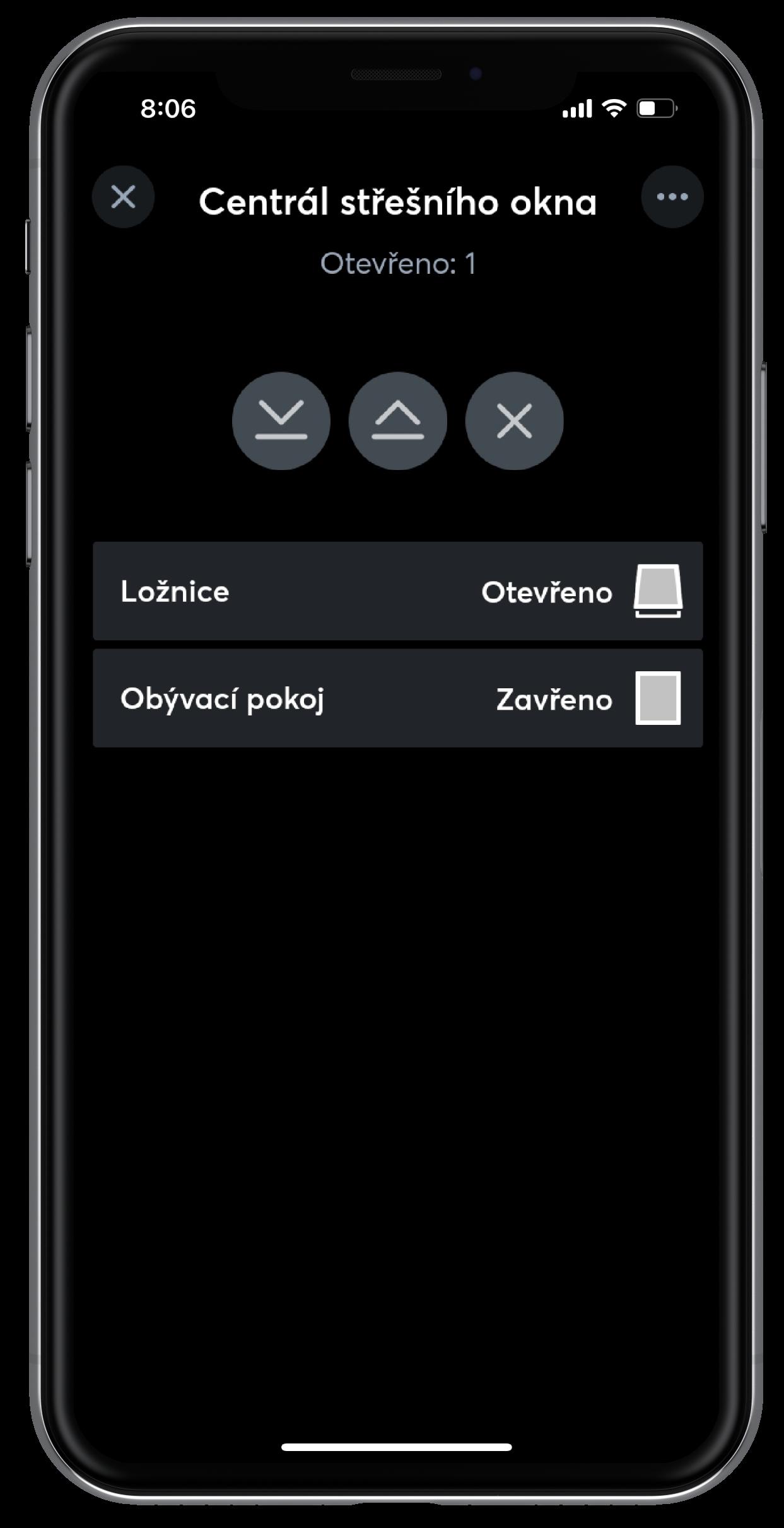 Centrál střešního okna v app