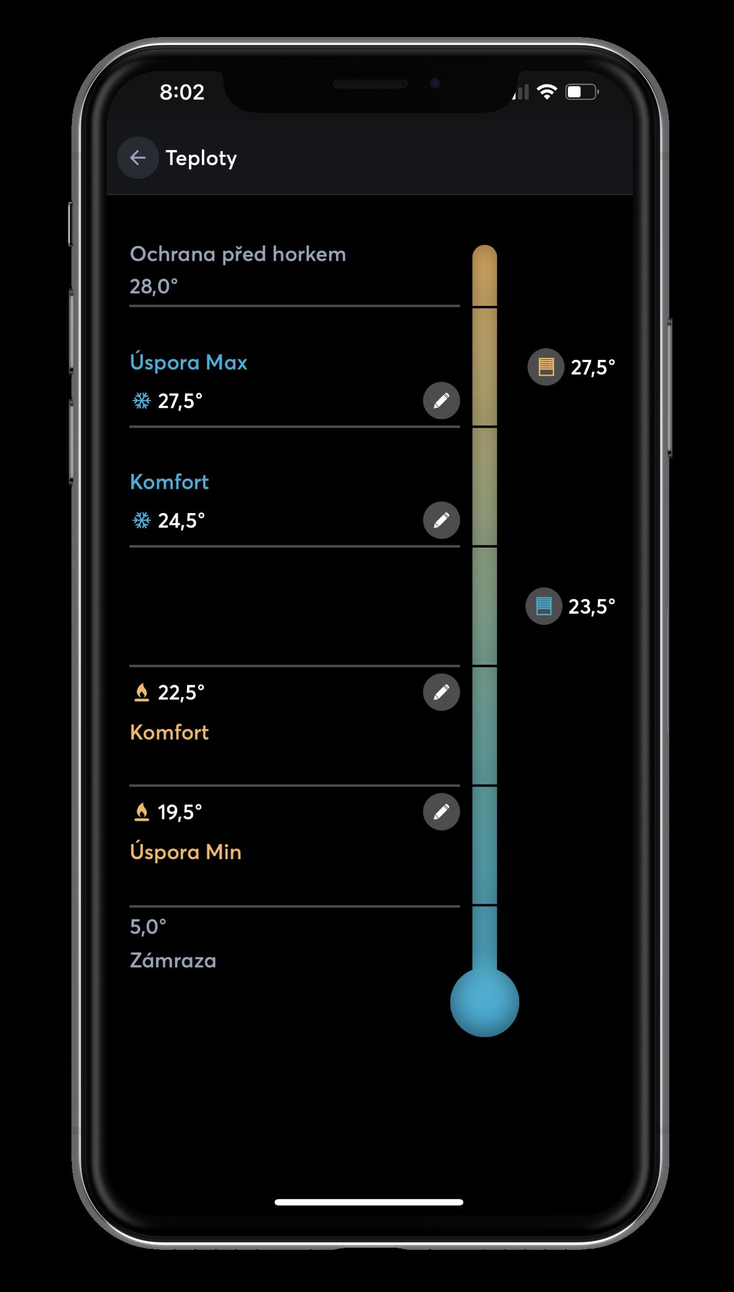 Nastavení různých teplot v App