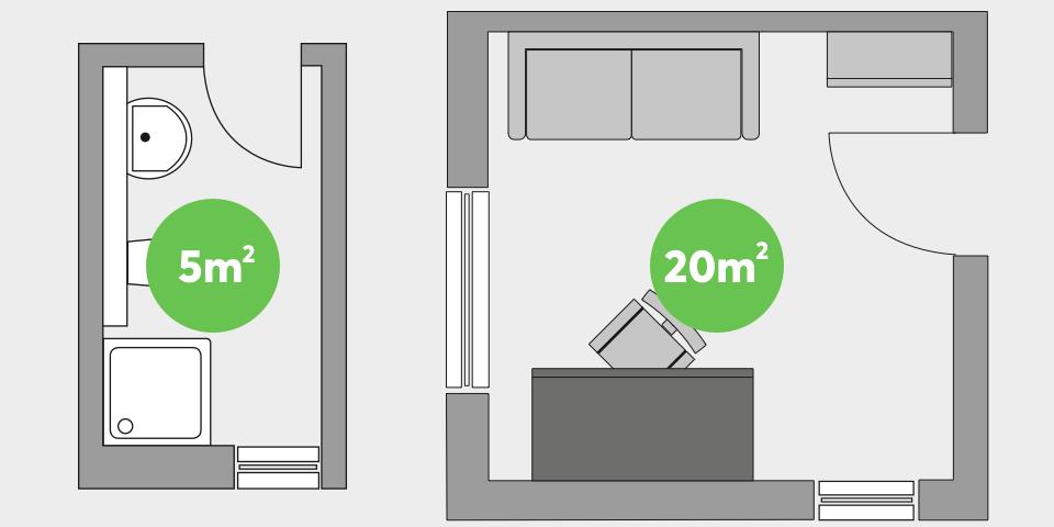 Varianty pokojů 5 a 20 metrů čtverečních