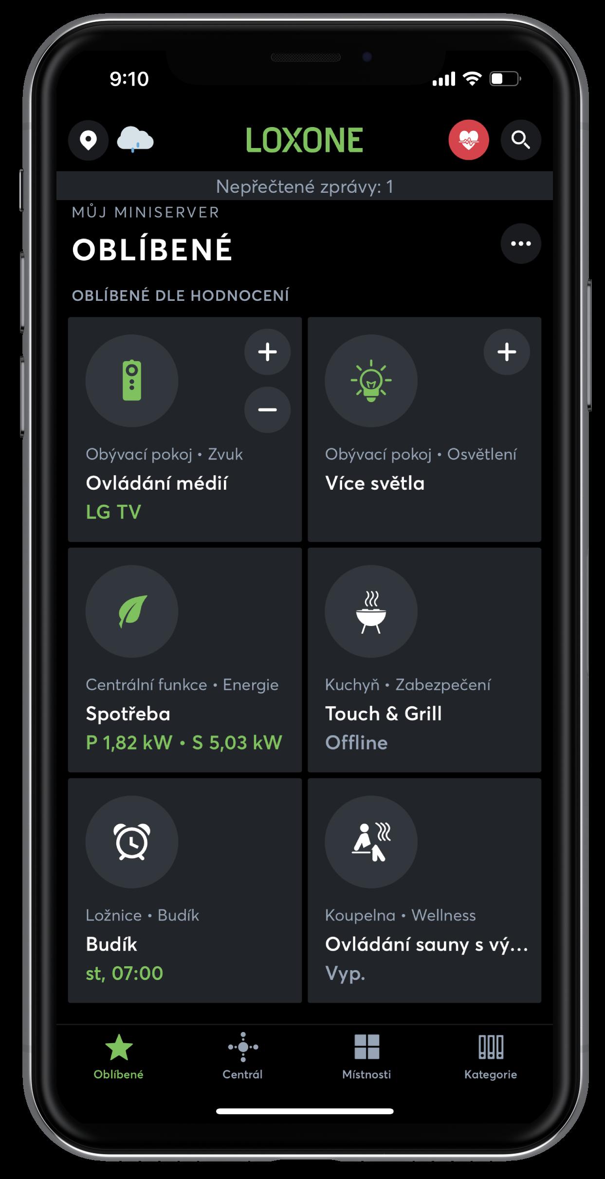 Možnosti Loxone App
