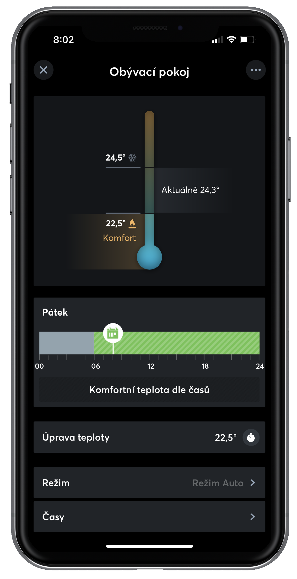 Nastavení teploty v Loxone App