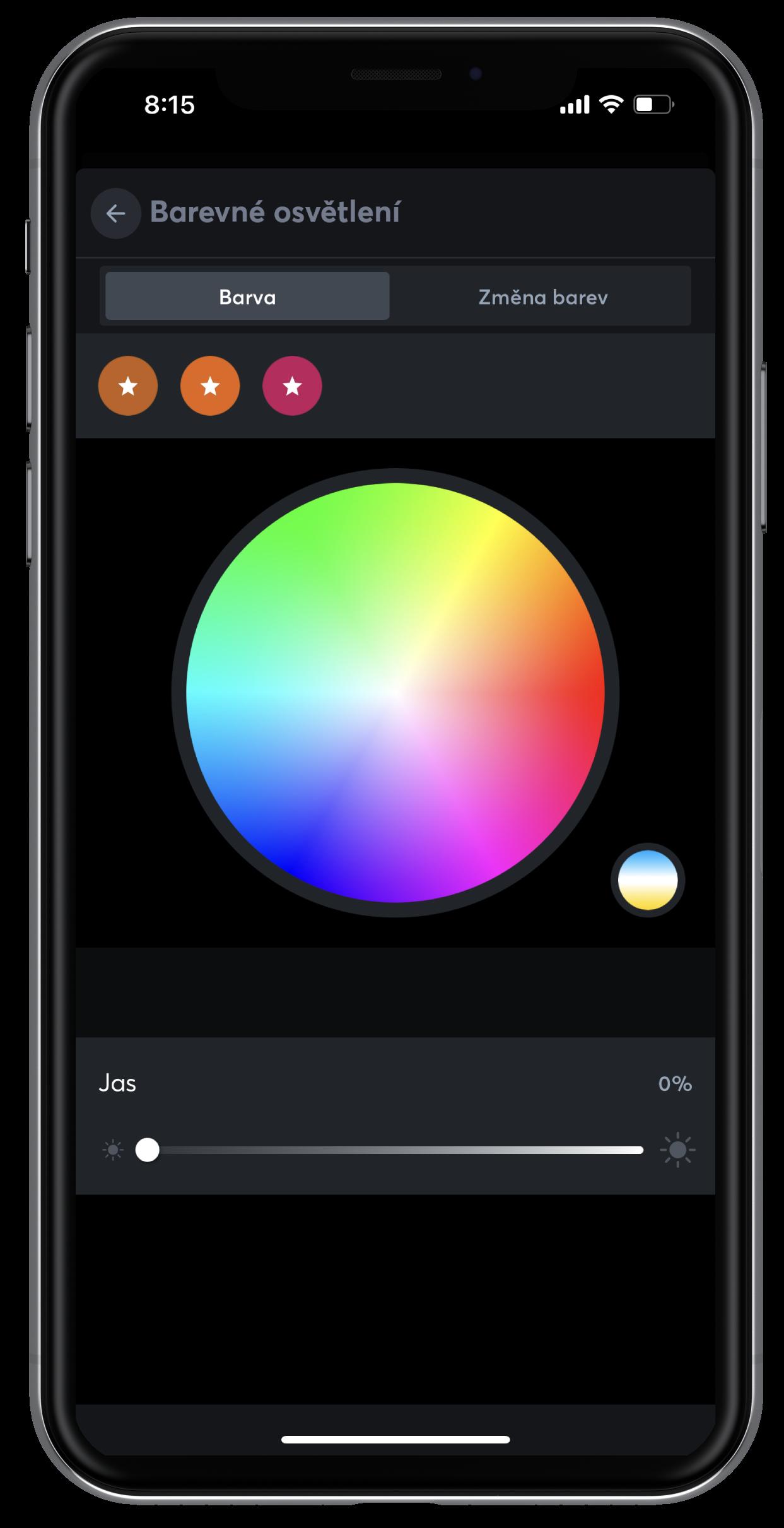 Nastavení barevného osvětlení