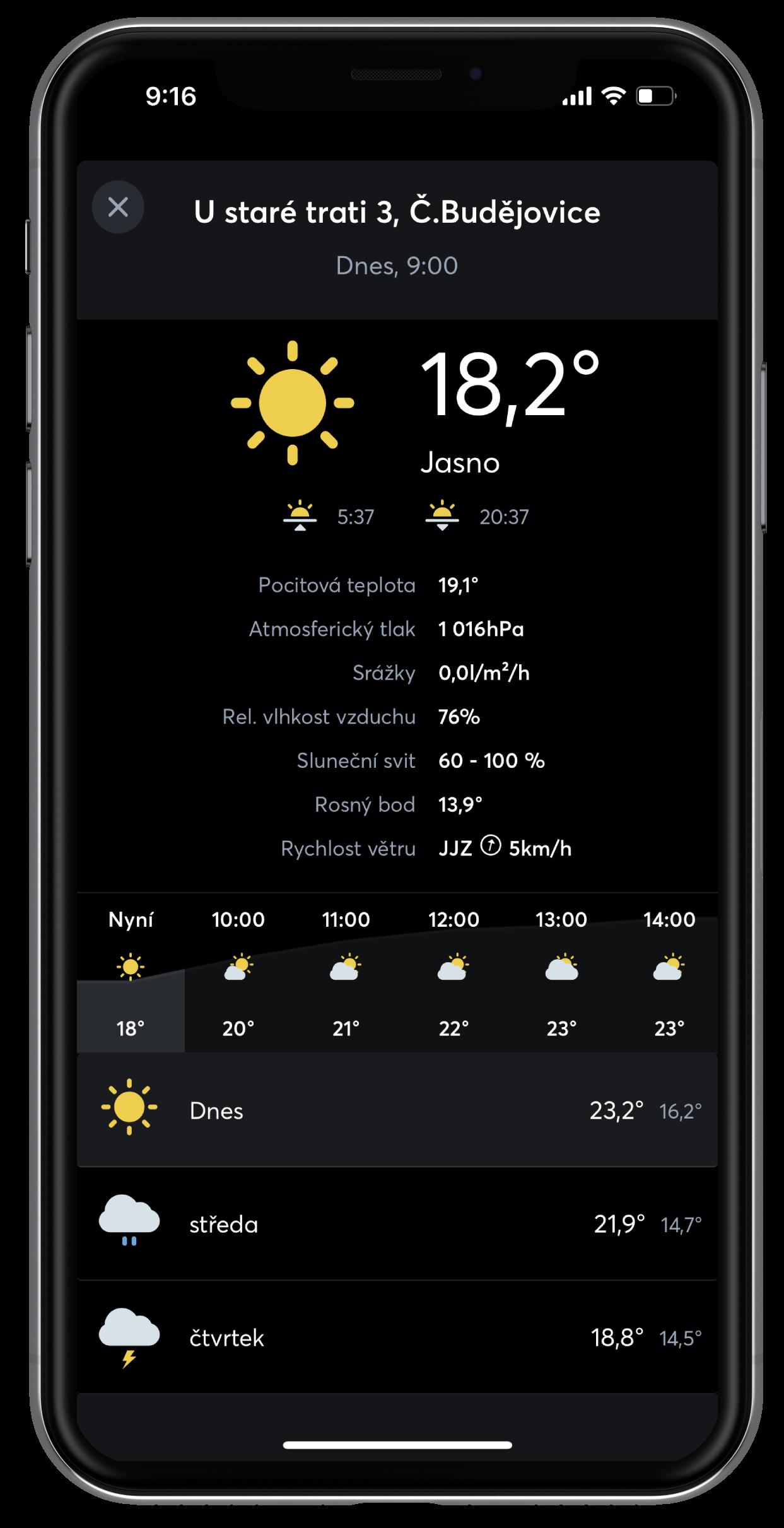 Předpověd počasí pomocí Weather Service