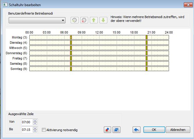 Beispiel Config Schaltuhr für die gewünschten Filterzeiten