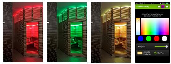 Ovládání světel v sauně