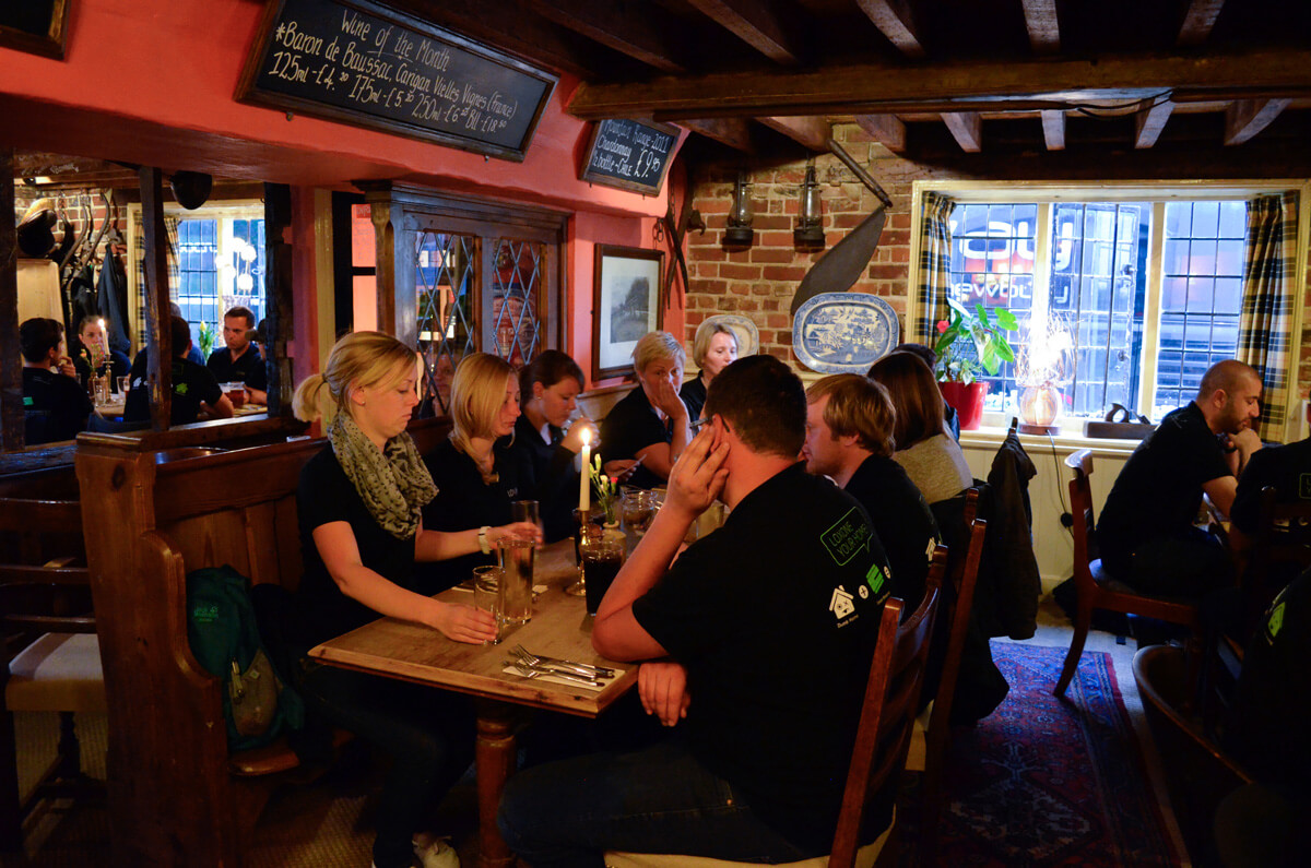 Loxone Betriebsausflug englisches Pub