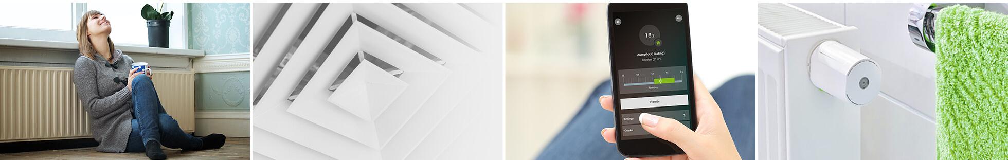 Heizungssteuerung im Smart Home - Collage mit Beispielen