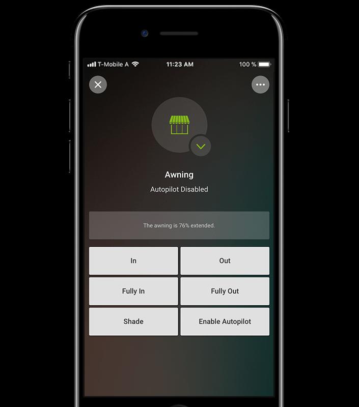 Mockup App - Beispiel Markisensteuerung in der Loxone App