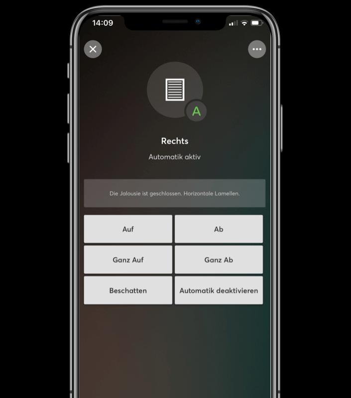 Mockup App - Beispiel Jalousiesteuerung in der Loxone App