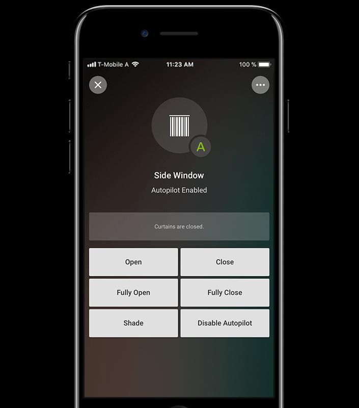Mockup App - Beispiel Rolladensteuerung in der Loxone App
