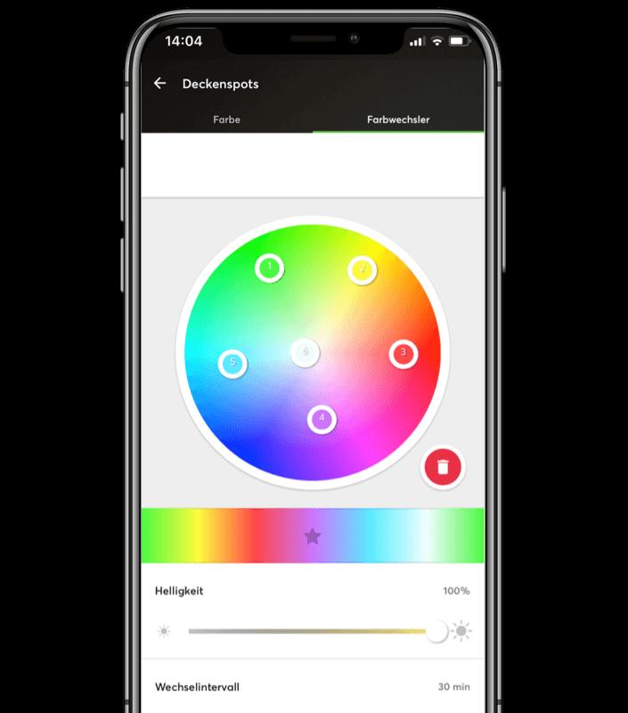 Smartphone Mockup - Einstellung einer Farbsequenz