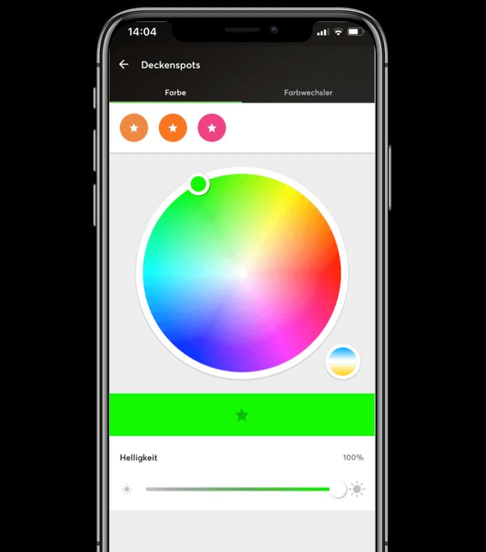 Smartphone Mockup - Farbwechsler für RGBW Leuchtmittel