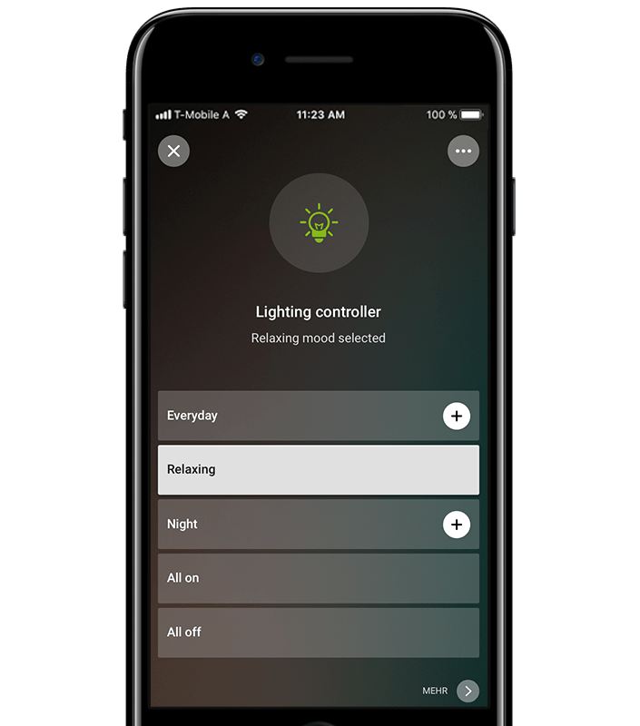 Smartphone Mockup - Szenenauswahl via App