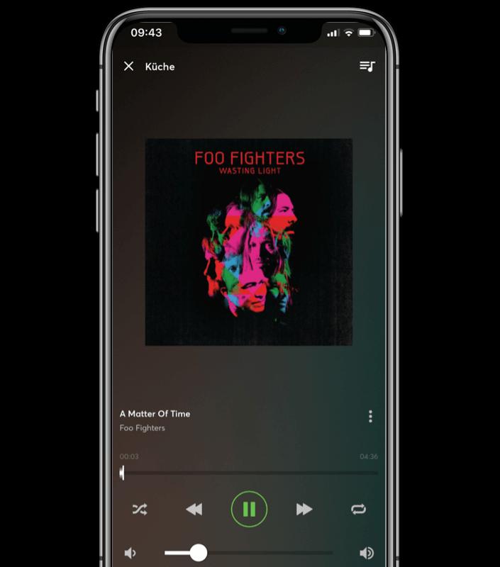 Mockup App - Musikwiedergabe in der Loxone App