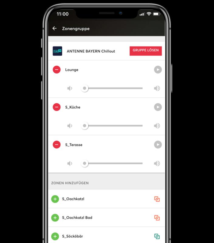 Mockup App - Musikzonen-Gruppen im Multiroom System zur individuellen Steuerung