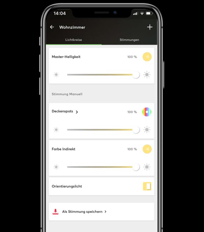 Mockup App - Einstellung einer Lichtstimmung