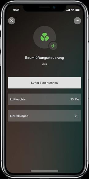 Mockup: Intelligente Lüftungssteuferung per App