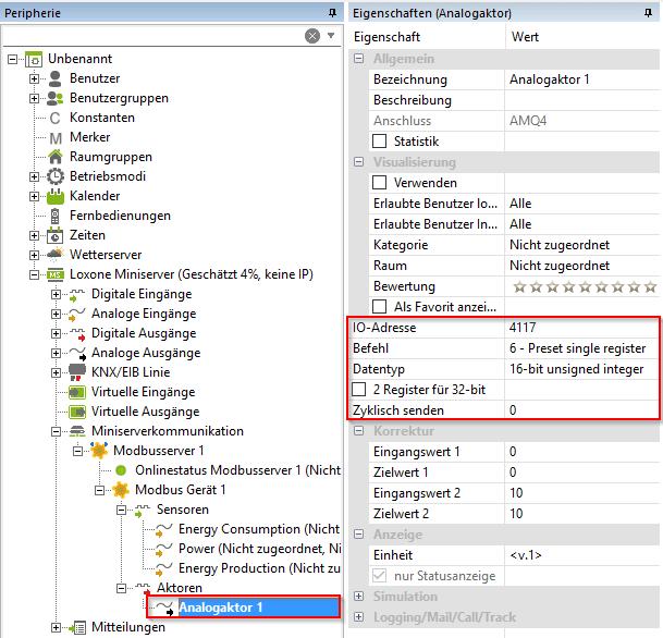 Erstellung Modbus Aktor mit IP Adresse
