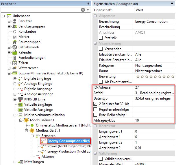 Erstellung Modbus Sensor mit IP Adresse