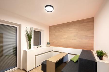 Gleichmäßig aufgeteilte LED-Spots lassen die Räume im Showhome größer wirken