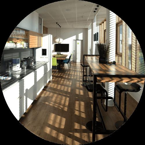 Blick in die neue hochmoderne Küche